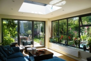 Aluminium Bi-fold doors, window and roof lantern in a grey RAL colour