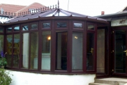 UPVC P-shaped Conservatory in Rosewood